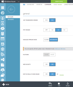 Configure Azure Website