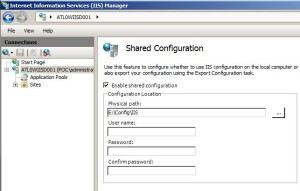 IIS7 Shared Config