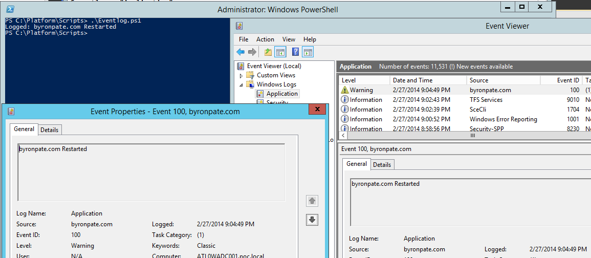 Writing to the Event Log with Powershell
