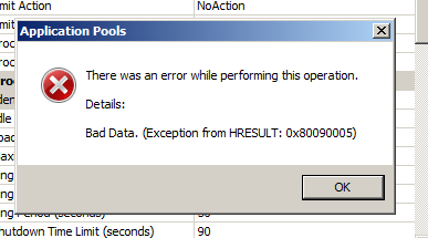 exception from hresult 0x800a03ec