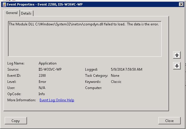 Troubleshooting IIS Event ID 5139 - byronpate com